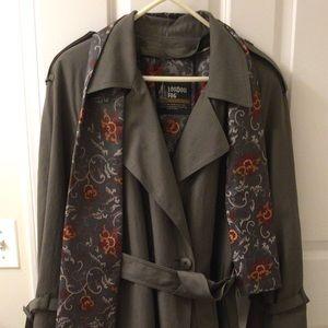 NWT P16W Ladies London Fog Trench Coat, Gray-Olive